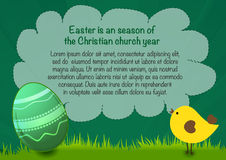 Happy Easter poster with text, egg and chicken, easter green background Royalty Free Stock Photography
