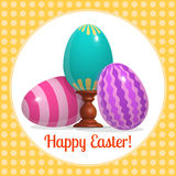 Happy easter poster three blue eggs Royalty Free Stock Images