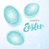 Happy easter poster, three blue eggs with hand drawing floral pattern. Vector illusration Stock Photo