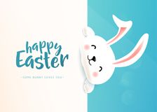 Happy Easter poster with white cute funny smiling rabbit. Cartoon easter bunny wishing spring holiday. Copy space. Vector illustration Stock Photo