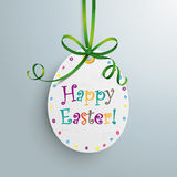 Happy Easter Price Sticker Egg Green Ribbon. White price sticker egg with green ribbon Royalty Free Stock Image