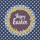 Happy Easter. Pussy-willow wreath. Frame made of white lace. Background in polka dots. Seamless pattern Stock Images