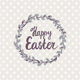 Happy Easter. Pussy-willow wreath - Round frame. Background in polka dots. Seamless pattern Stock Image