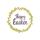 Happy Easter. Pussy-willow yellow wreath - Round frame. Vector illustration isolated on white background Royalty Free Stock Images