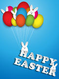 Happy Easter Rabbit Balloons Eggs Royalty Free Stock Photos
