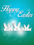 Happy Easter Rabbit Bunny on Blue Background Stock Photos