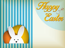 Happy Easter Rabbit Bunny on Blue Background Stock Photo