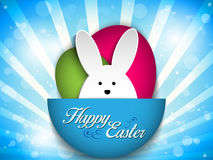 Happy Easter Rabbit Bunny on Blue Background Stock Photography