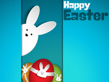 Happy Easter Rabbit Bunny on Blue Background Stock Images