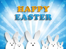 Happy Easter Rabbit Bunny on Blue Background Royalty Free Stock Photo