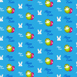 Happy Easter Rabbit Bunny Blue Seamless Background Stock Photos