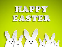 Happy Easter Rabbit Bunny on Green Background Stock Photo