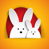 Happy Easter Rabbit Bunny on Orange Background Stock Photos