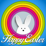 Happy Easter Rabbit Bunny on Rainbow Background Stock Images