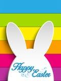 Happy Easter Rabbit Bunny on Rainbow Background Stock Image