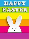 Happy Easter Rabbit Bunny on Rainbow Background Royalty Free Stock Photos