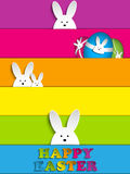 Happy Easter Rabbit Bunny on Rainbow Background Stock Photo