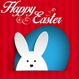 Happy Easter Rabbit Bunny on Red Background Royalty Free Stock Photo