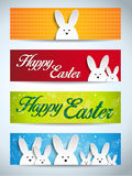 Happy Easter Rabbit Bunny Set of Banners Stock Photography