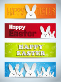 Happy Easter Rabbit Bunny Set of Banners Royalty Free Stock Image