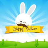 Happy easter rabbit bunny text with ribbon on Nature background Stock Photos