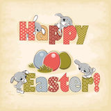 Happy easter rabbit. Happy easter card. easter rabbit and egg Stock Photo