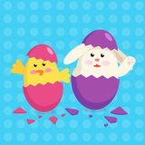 Happy Easter rabbit chicken Stock Photography
