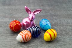 Happy Easter Rabbit and colored Eggs royalty free stock photo