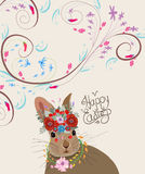 Happy easter with rabbit. Doodle florals vintage background.  royalty free illustration