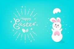 Happy Easter, rabbit in egg, rabbit hatchs festive holiday, cartoon concept background invitation greeting card vector vector illustration