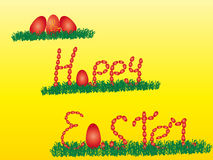 Happy easter With a rabbit and eggs Royalty Free Stock Images