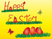 Happy easter With a rabbit and eggs Stock Photo