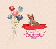 Happy easter rabbit and flower bouquets retro.  royalty free illustration