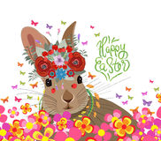 Happy easter with rabbit, flower and butterflies colorful.  vector illustration