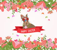 Happy easter rabbit and flower frame.  royalty free illustration
