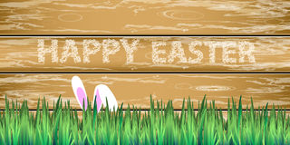 Happy easter rabbit in grass hide. And-seek game. Illustration for your design Stock Image