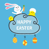 Happy Easter. Rabbit hare bunny and carrot, baby chicken shell. Cloud frame. Hanging painted eggs. Dash line with bows. Greeting c Royalty Free Stock Photo