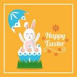 Happy easter rabbit inside broken egg card. Vector illustration Royalty Free Stock Image