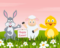 Happy Easter with Rabbit, Lamb and Chick Royalty Free Stock Photo
