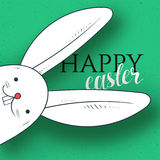Happy easter. Rabbit looks and greeting calligraphy. Easter bunny Royalty Free Stock Photos
