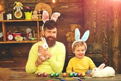 Happy easter Rabbit`s family with bunny ears. Happy easter! Rabbit`s family with bunny ears. Cute little child boy wearing on Easter day royalty free stock photography