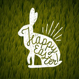 Happy easter rabbit sign. grass background. Royalty Free Stock Images