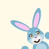 Happy easter rabbit smile peep looking from corner Royalty Free Stock Photography
