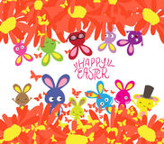 Happy easter with rabbit, sunflowers and butterflies background.  vector illustration