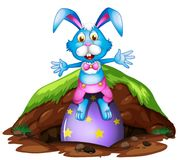 A Happy Easter Rabbit on White Background. Illustration Stock Images