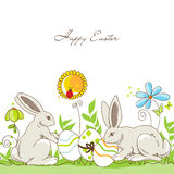 Happy Easter rabbits Royalty Free Stock Images
