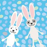 Happy Easter rabbits on blue background card design. vector Royalty Free Stock Photo