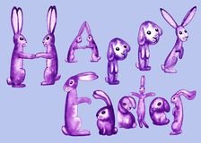 Happy Easter rabbits on a blue. Happy Easter inscription in the form of purple and lilac fluffy rabbits on a blue background, fancy alphabet letters decorate Royalty Free Stock Photo