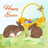 Happy Easter  rabbits  and easter basket vector Stock Images