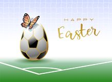 Happy Easter. A realistic Easter egg as a soccer ball and butterfly. Sports greeting card. stock illustration